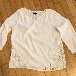 GAP white blouse with lace detail
